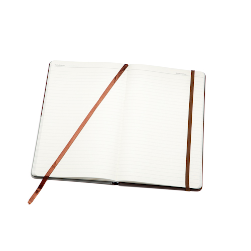 custom hardcover notebook open with bookmark and elastic bnd