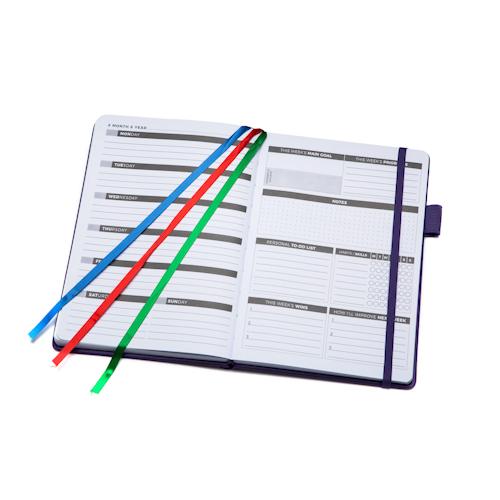 custom logo planner open with bookmark