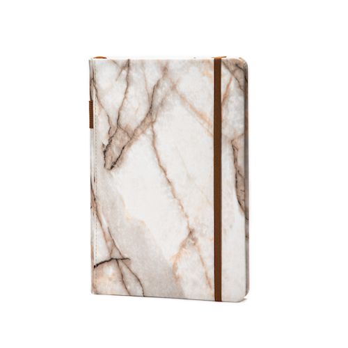 marble hardcover notebook with pen holder and elastic band front