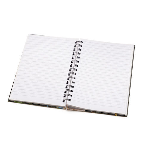 promotional spiral notebooks open