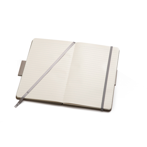 ruled open notebook with bookmark and elastic band